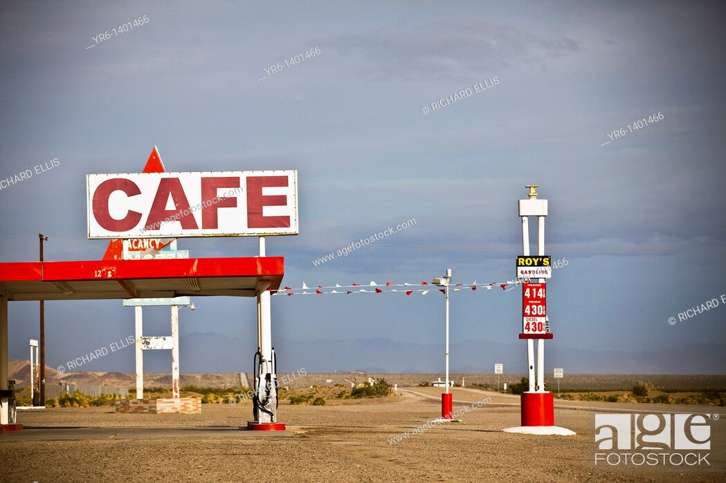 Stock Photo: Roy's Motel & Cafe, historic landmark along the old Route 66 in the Mojave Desert Amboy, CA.