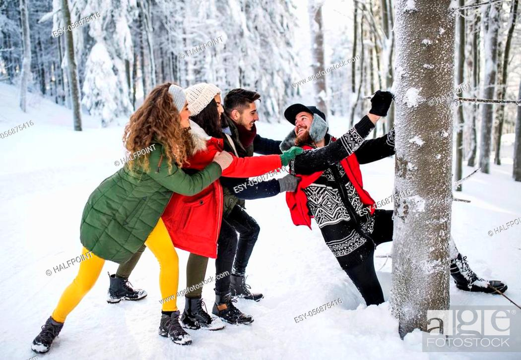 Stock Photo: A group of young cheerful friends on a walk outdoors in snow in winter forest, having fun.