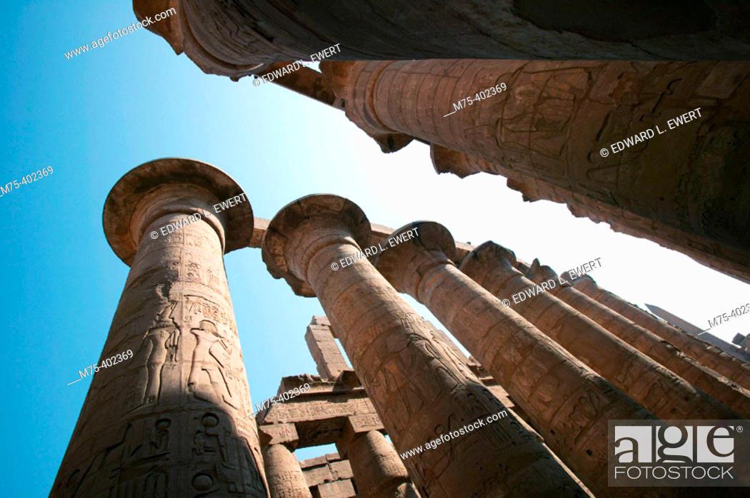 Columns supporting stone roof at Karnak  Luxor, Egypt, Stock
