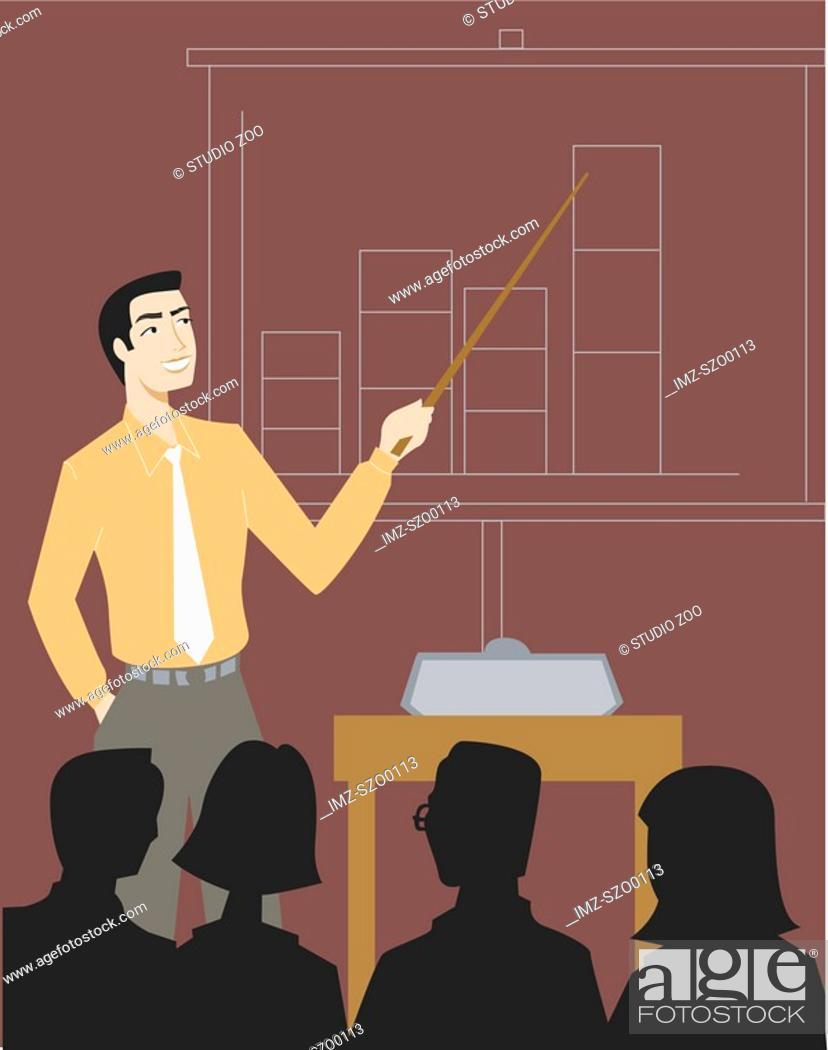 Stock Photo: A businessman giving a sales presentation.