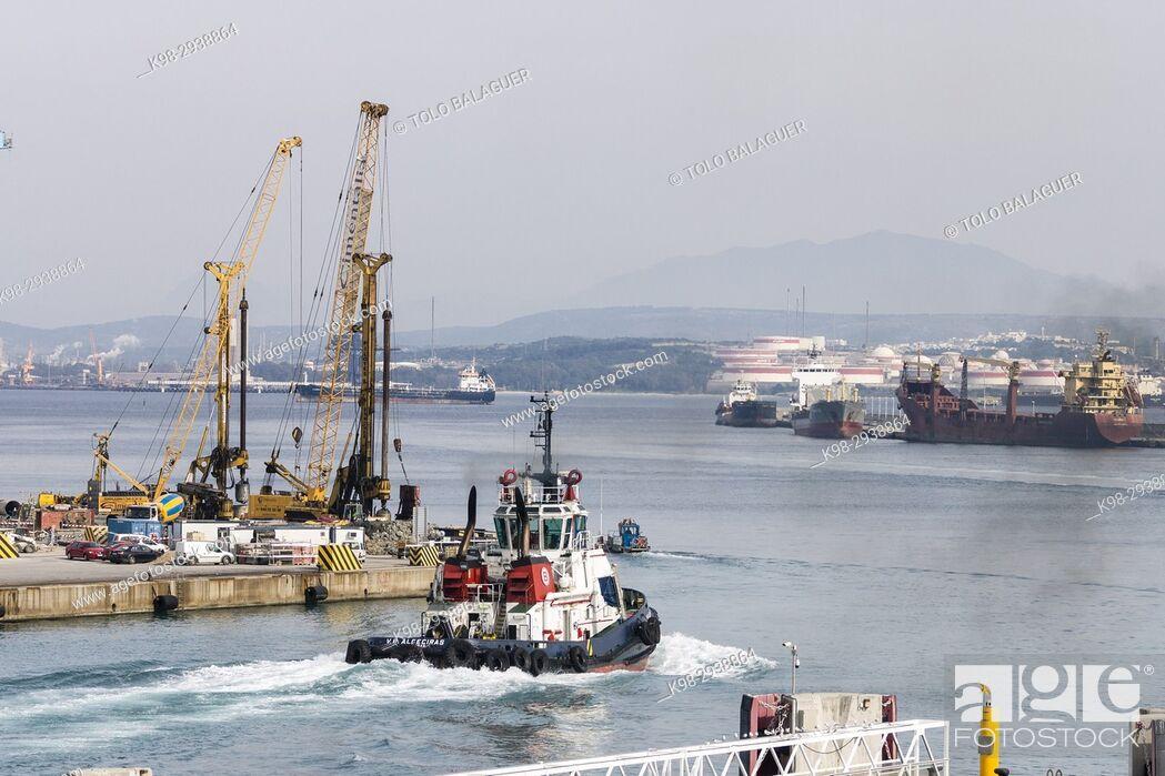 Stock Photo: Cargo containers, Port of Bahía de Algeciras,Andalucia, Spain.
