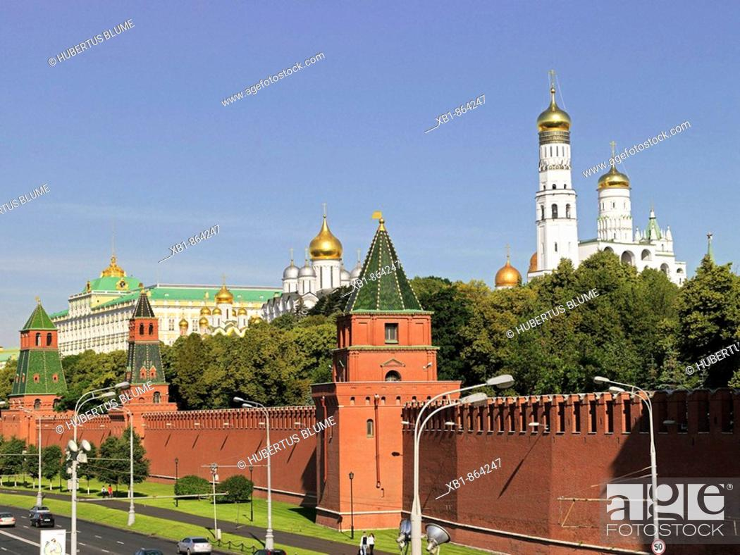 Stock Photo: Kremlin with Kremlin wall and Great Kremlin Palace, left, right Ivan the Great Bell tower, Moscow, Russia.