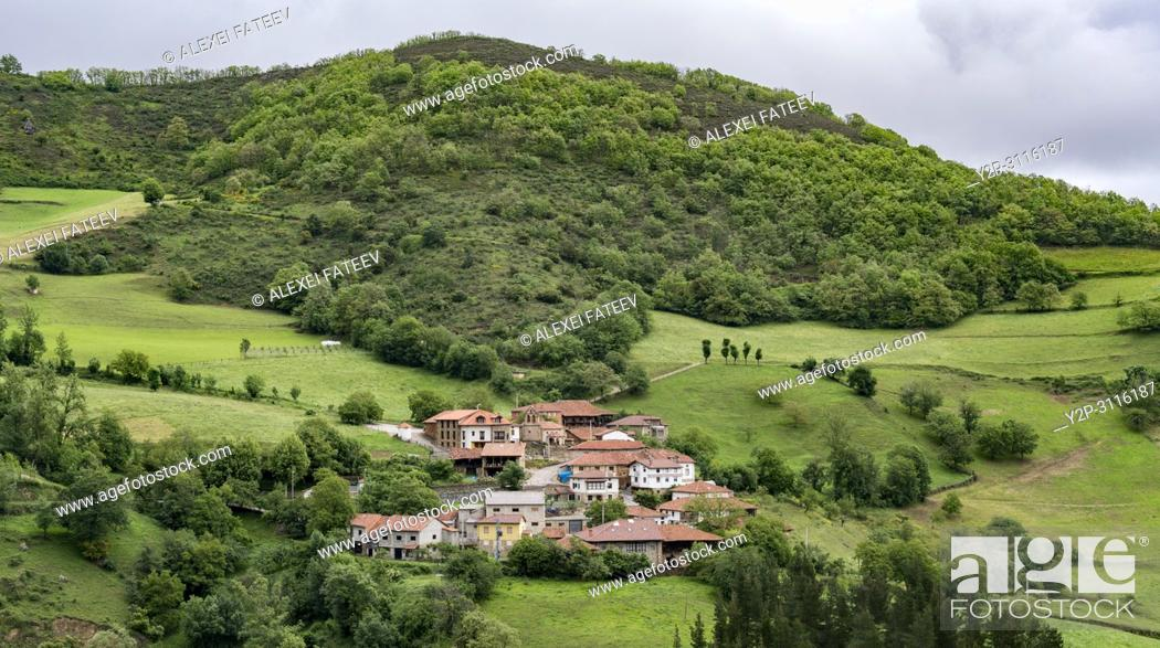 Stock Photo: Small village in Cantabrian part of Picos de Europa, Spain.