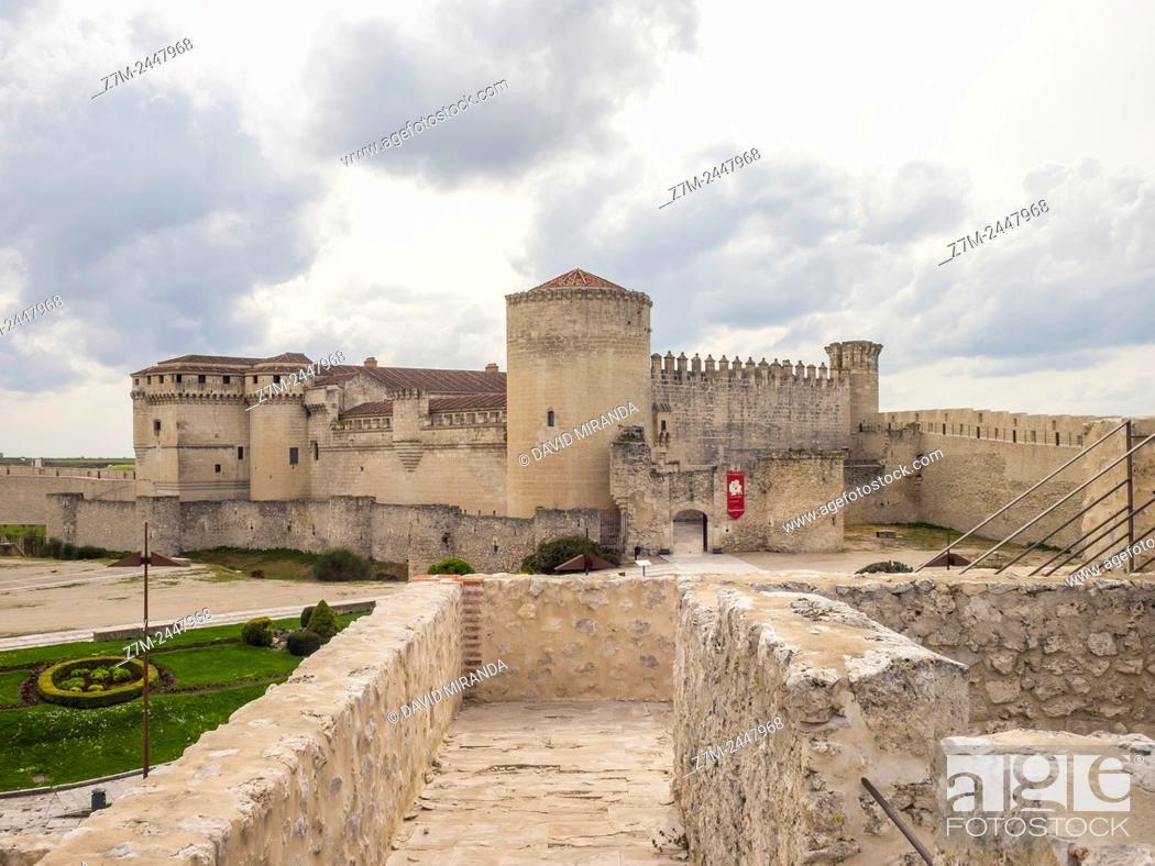 Stock Photo: Castillo Palacio del Duque de Alburquerque, view from the wall. Cuéllar. Conjunto histórico. Segovia province. Castile-Leon. Spain.
