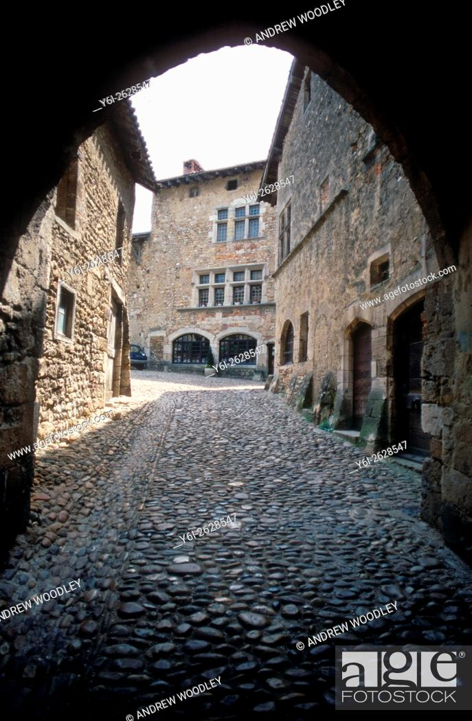 Stock Photo: Arch in mediaeval town Perouges Ain France.