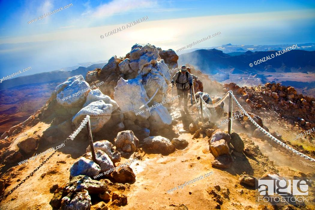 Stock Photo: Climbing to the top of Teide. Teide National Park. Tenerife. Canary Islands. Spain.