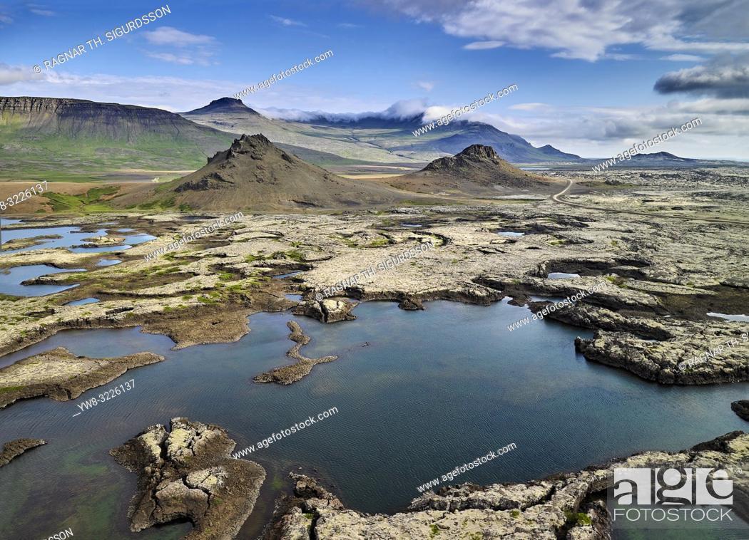 Imagen: Aerial - Gullborgarhraun lava field, Snaefellsnes Peninsula, Western, Iceland.