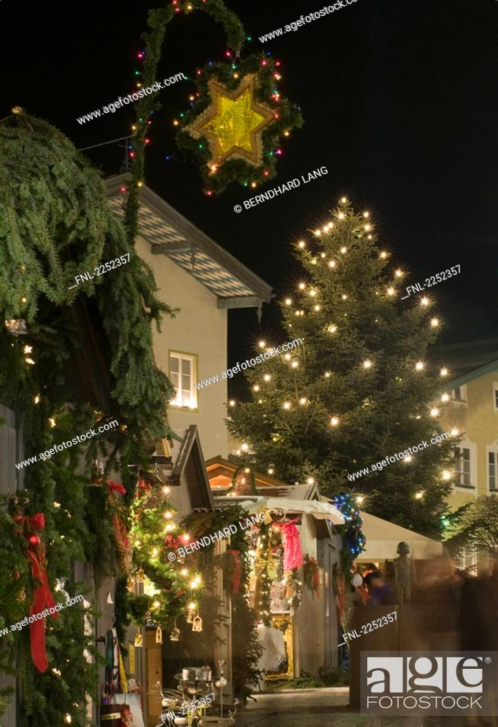 Stock Photo: House decorated with christmas lights, Bavaria, Germany.