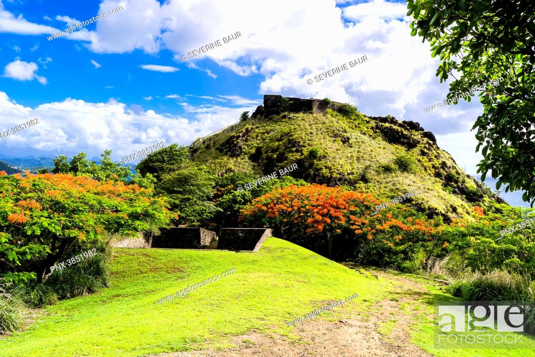 Stock Photo: Fort Rodney, National Park of Pigeon Island, Rodney Bay, Sainte-Lucia, West Indies.