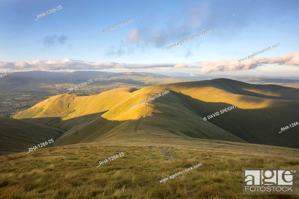 Stock Photo: The view to Arant Haw and Ingleborough from the summit of Calders near Sedbergh in the Yorkshire Dales National Park, Cumbria, England, United Kingdom, Europe.