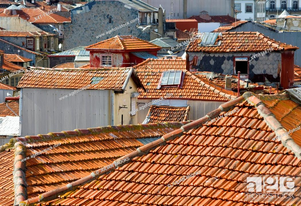 Stock Photo: pantile rooftops in Porto, portugal,.