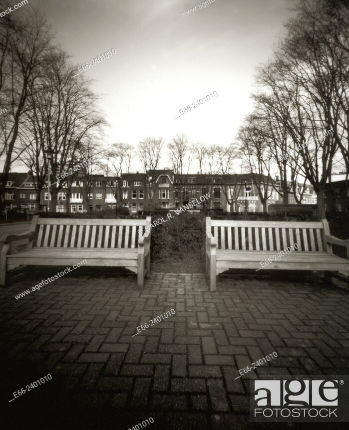 Stock Photo: Strange Winter. Two benches in a park in Heerlen, Limburg in the Netherlands. Shot with a pinhole camera.
