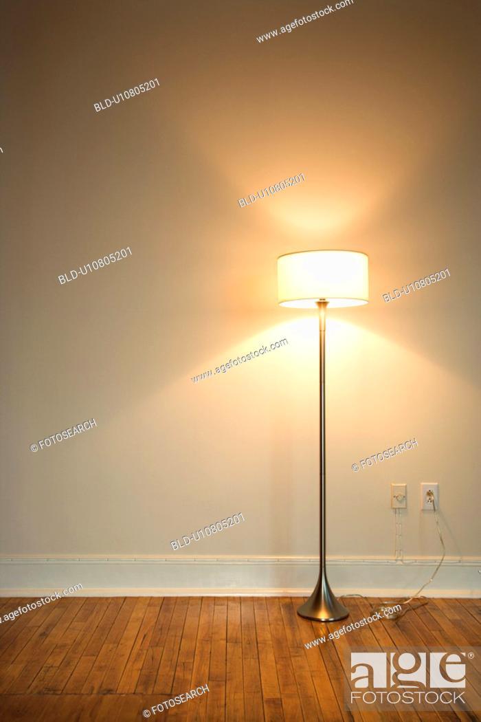 Stock Photo: Still life of floor lamp on hardwood floor.