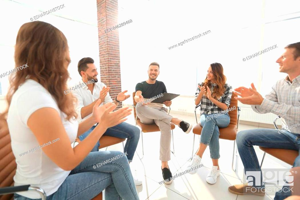 Photo de stock: business team at a seminar in the modern office.business concept.