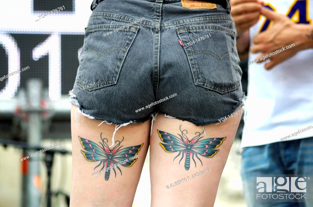 Stock Photo: Dancer with butterfly tattoos on their thighs, Gay Pride Day 2011, Madrid, Spain.