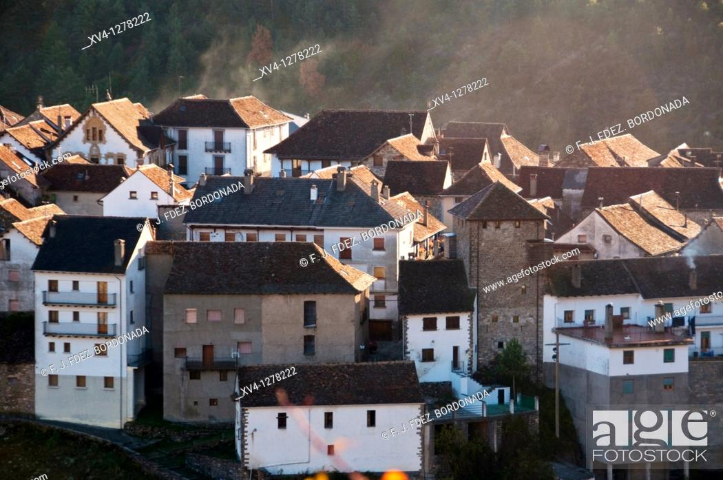 Stock Photo: Anso village panoramic views  Huesca, Aragonesse Pyrenees  Spain  Europe.