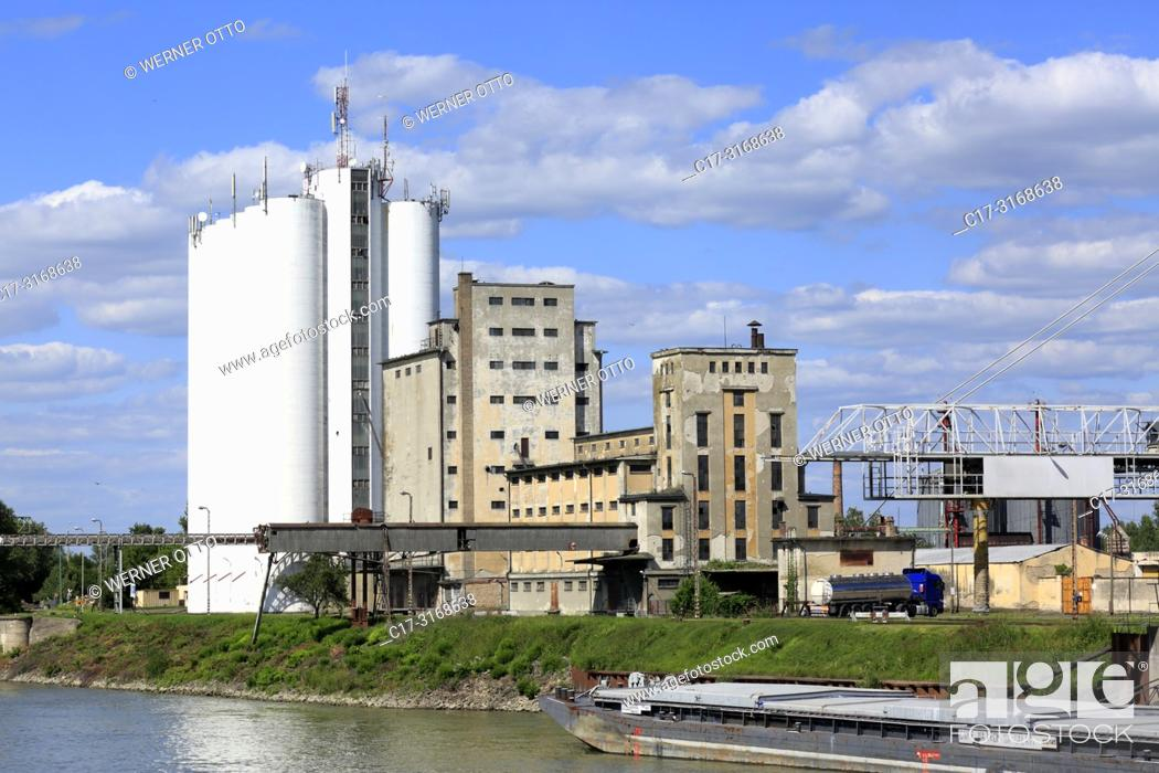 Stock Photo: Baja, Hungary, Southern Hungary, Baja on the Danube, Pannonian Plain, Southern Great Hungarian Plain, Bacs-Kiskun County, cement factory Beton Szoevetkezet.