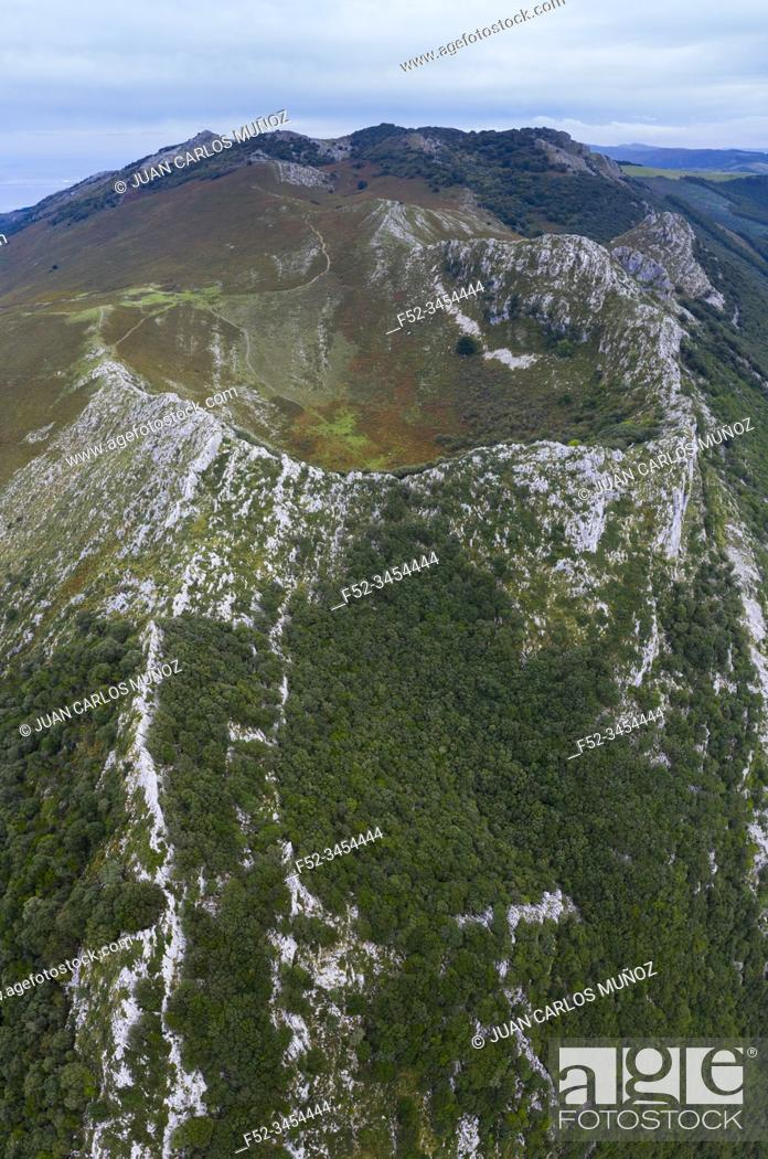 Stock Photo: Cerredo Mountain, Aerial View, Islares, Castro Municipality, Montaña Oriental Costera, The Way of Saint James, Cantabrian Sea, Cantabria, Spain, Europe.