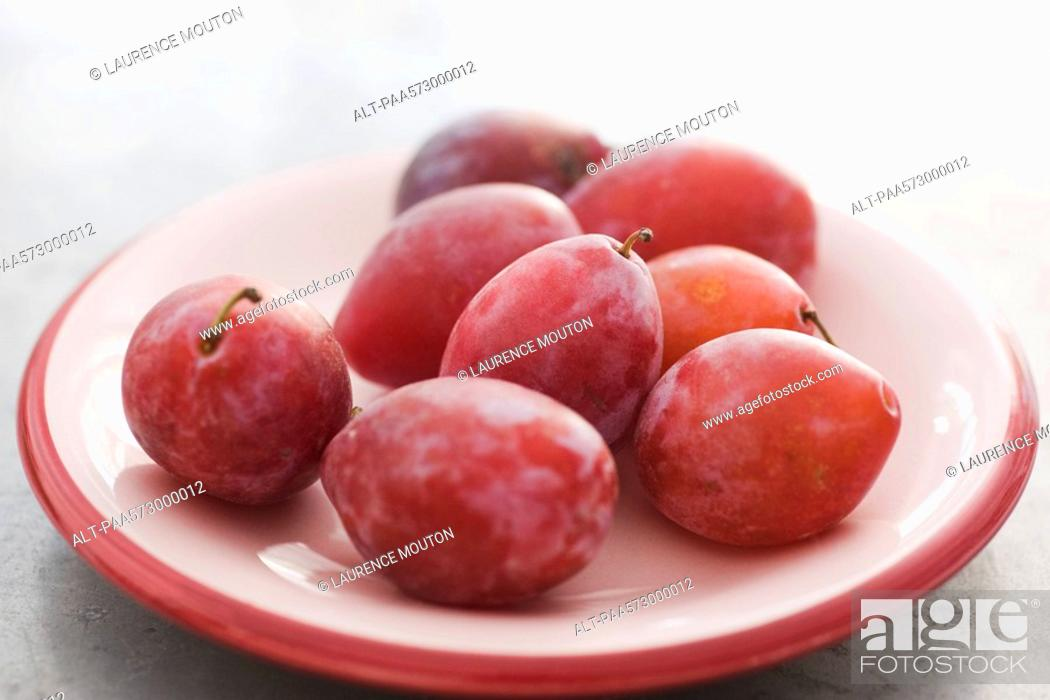 Stock Photo: Ripe plums.