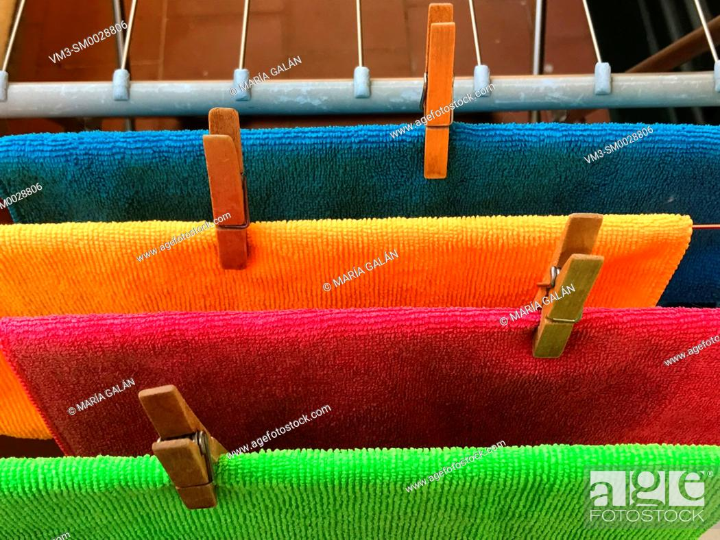 Stock Photo: Hung out colourful rags.