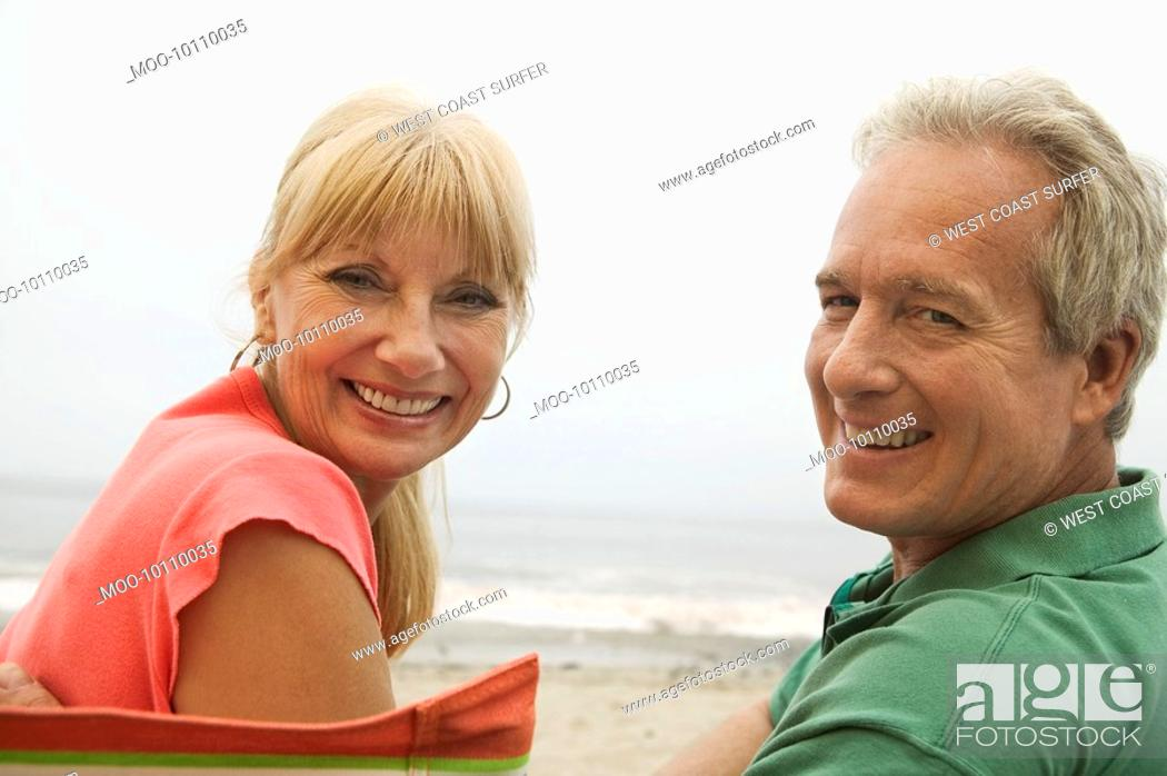 Stock Photo: Couple at beach portrait.