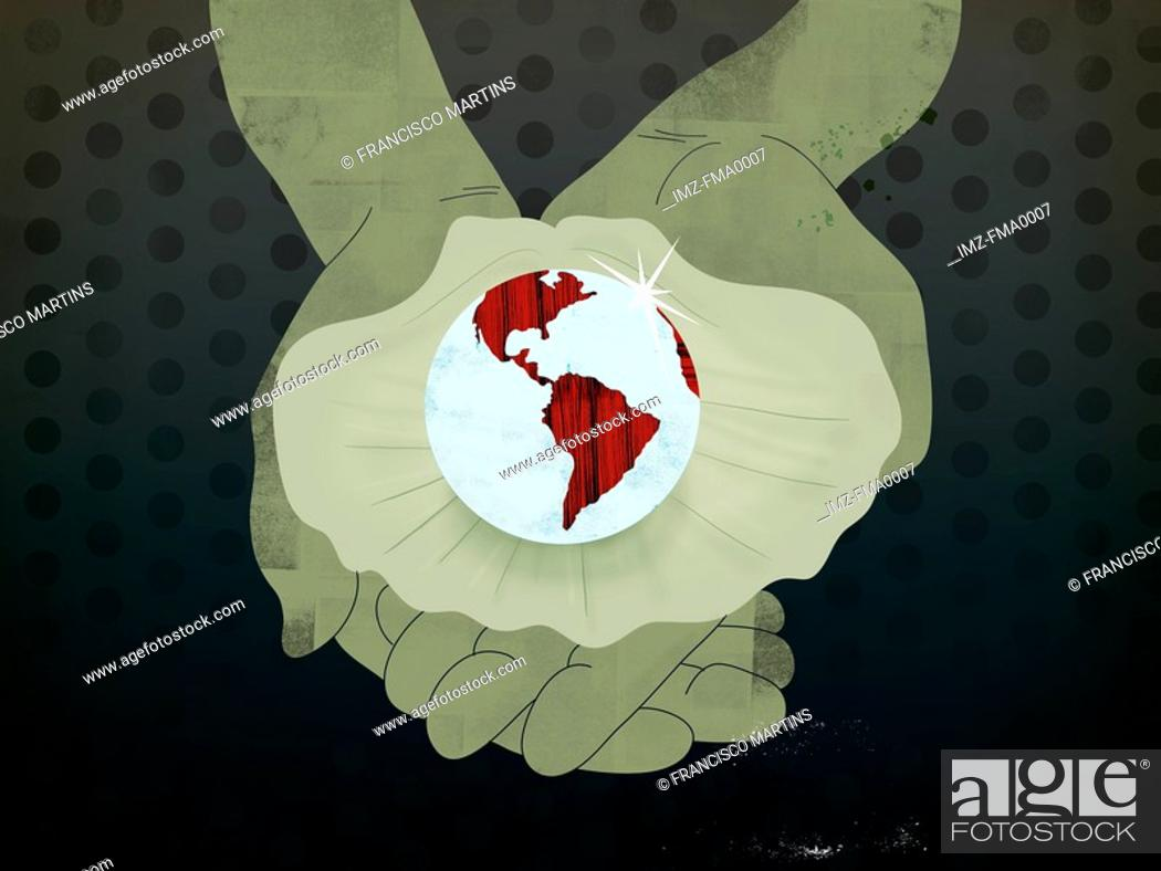Stock Photo: Hands holding an open oyster with a large Earth shaped pearl.