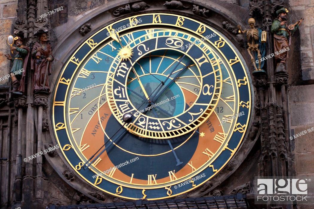Stock Photo: Astronomical clock, Old Town Hall  Prague  Czech Republic.