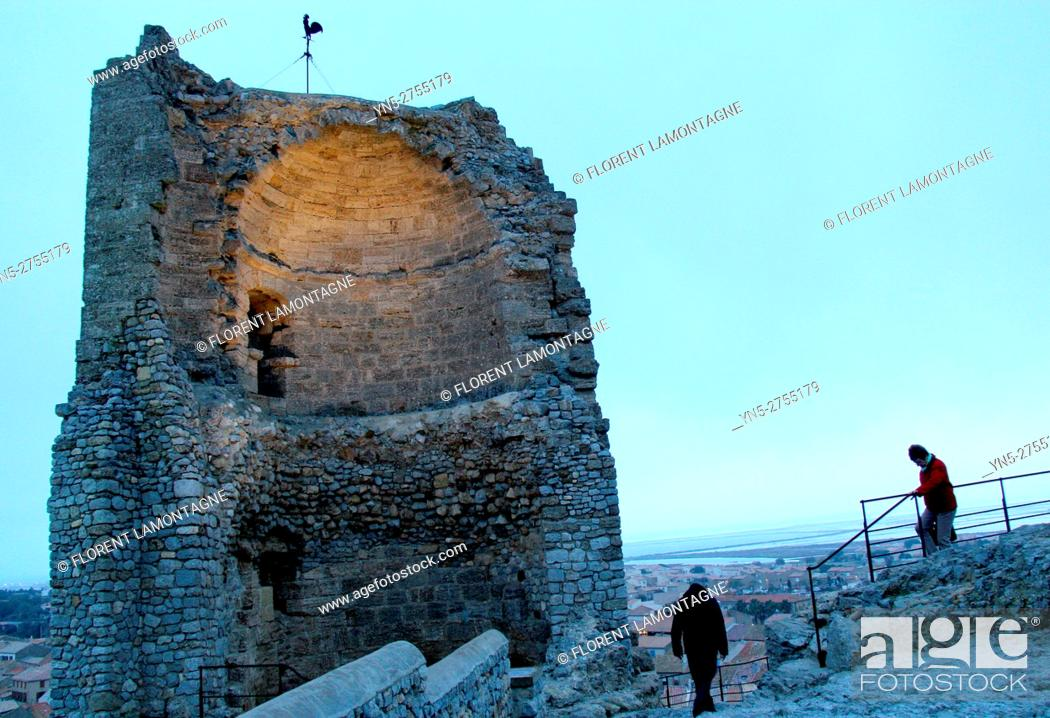 Stock Photo: Tower of Barberousse, at castle of Gruissan, Aude, Languedoc roussillon.