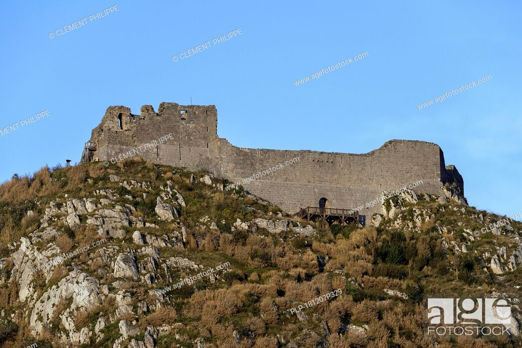 Stock Photo: Ruins of the medieval Château de Montségur castle on hilltop, stronghold of the Cathars in the Ariège department, Occitanie, France.