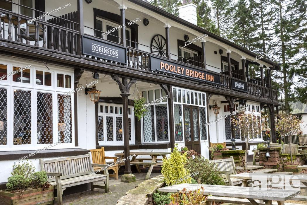 Stock Photo: Pooley Bridge Inn at Pooley bridge in the Lake District, Cumbria, England.