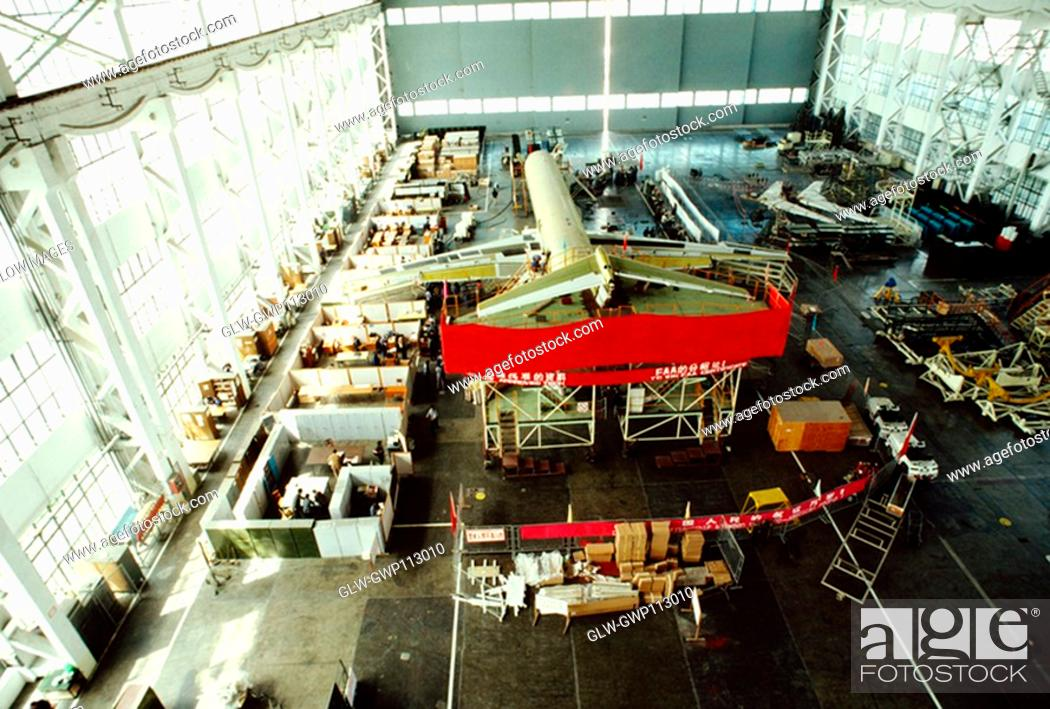 Stock Photo: High angle view of a passenger craft in an airplane factory, Shanghai, China.