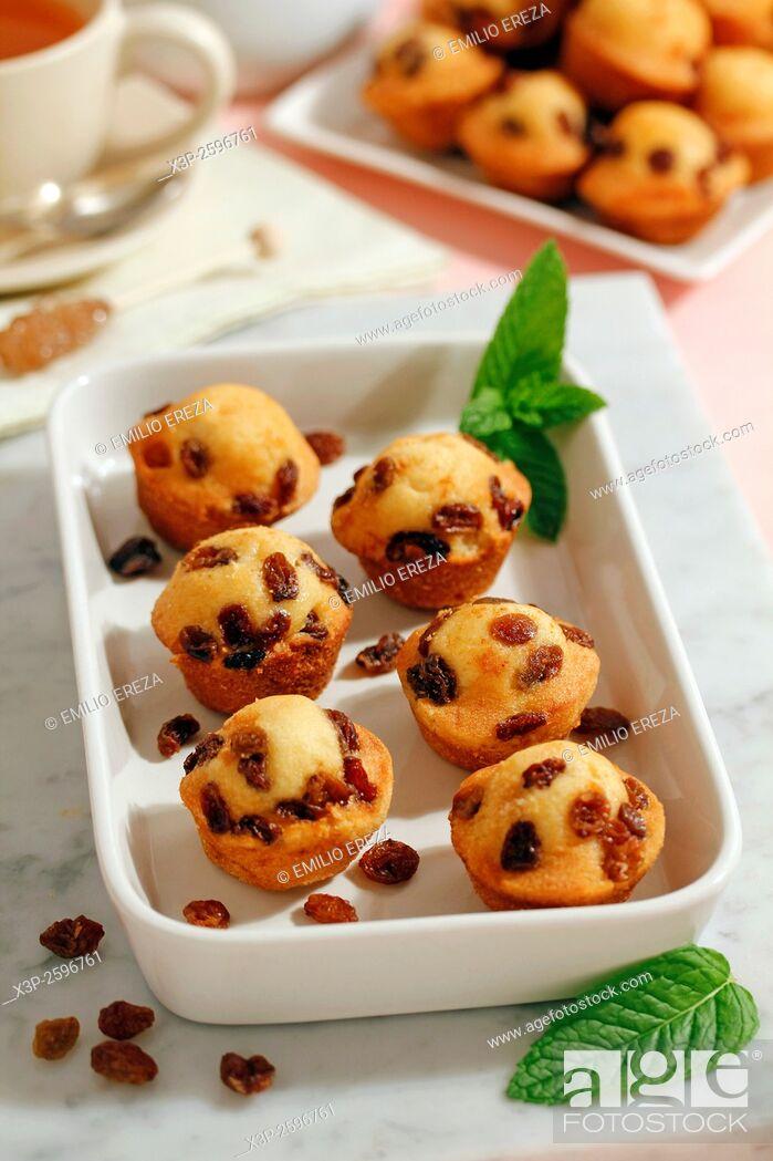 Stock Photo: Muffins with raisins.