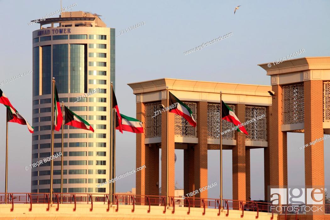 Stock Photo: Kuwait, Kuwait City, Souk Sharq Bridge, Ahmad Tower,.