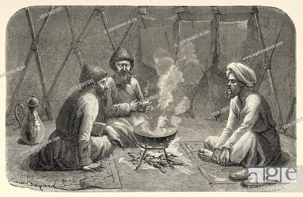 Photo de stock: Interior of a Turkmen tent, from Travels in central Asia 1863 by Armin Vambery. Old engraving El Mundo en la Mano 1878.