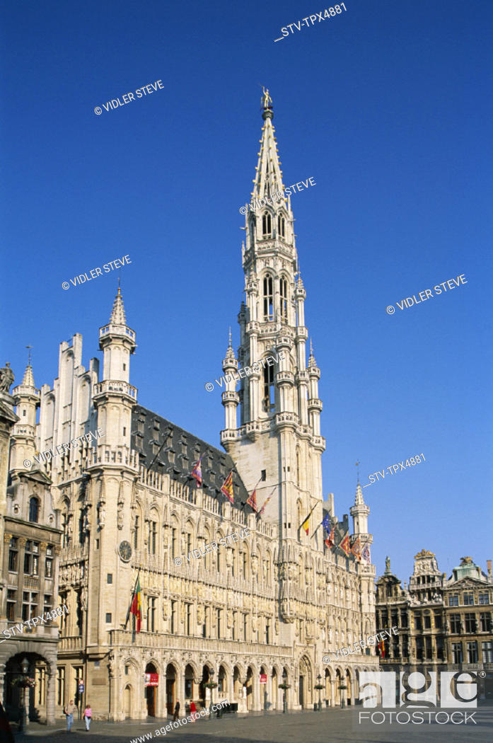Stock Photo: Belgium, Europe, Brussels, Grand place, Heritage, Holiday, Landmark, Tourism, Town hall, Travel, Unesco, Vacation, World,.
