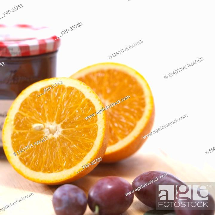 Stock Photo: oranges and plums.