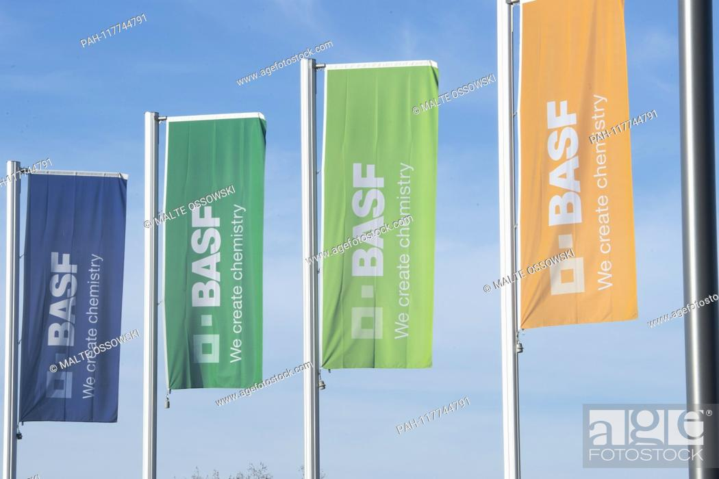 Flags with the BASF logo in front of the factory, chimney