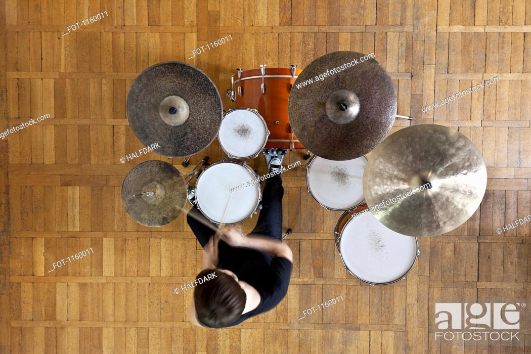 Stock Photo: Drummer plays kit.
