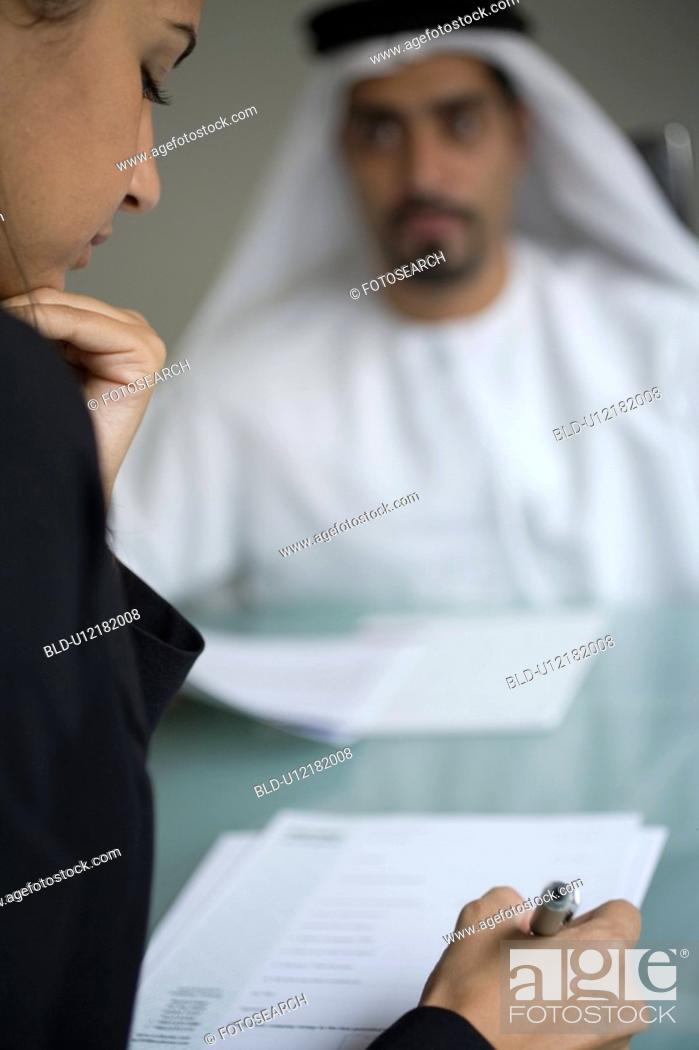 Stock Photo: signing, business, woman, businessmen, businessman, Arabic.