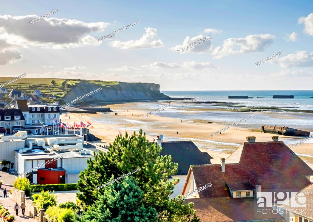 Stock Photo: Mulberry artificial harbour's remains, Arromanches, Normandy landing, World War II, Calvados, France.
