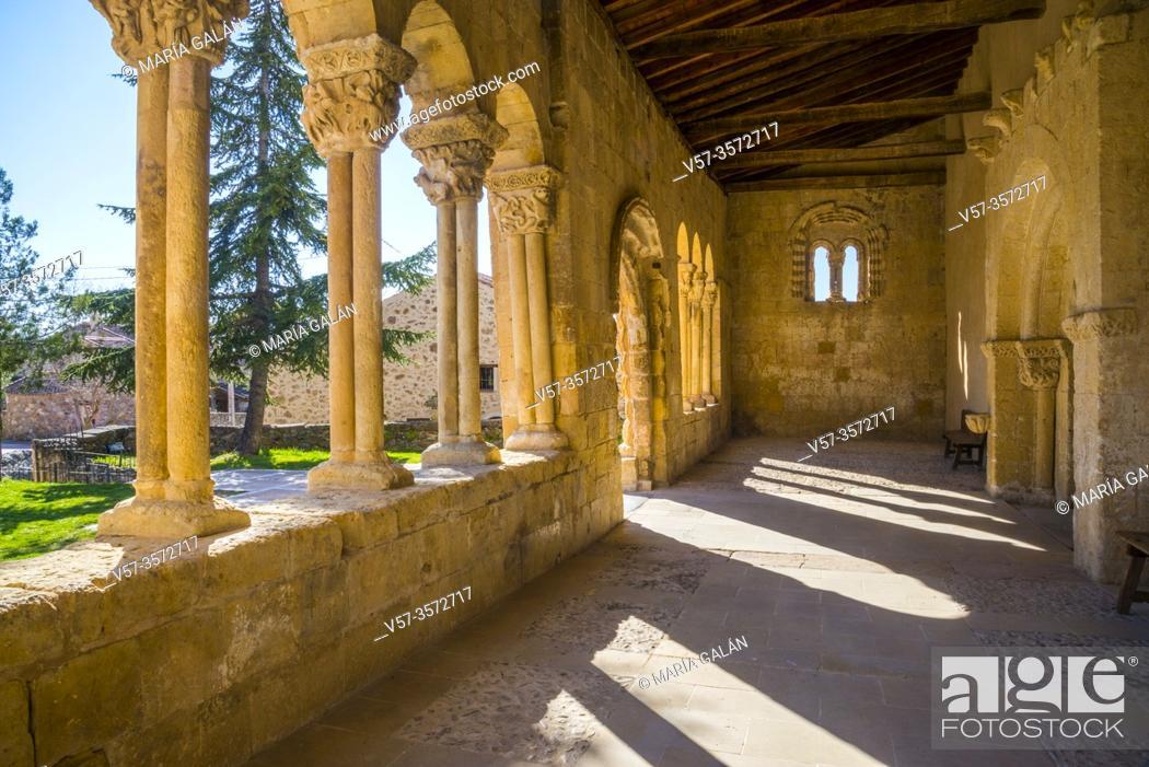 Stock Photo: Atrium of the Romanesque church. Sotosalbos, Segovia province, Castilla Leon, Spain.