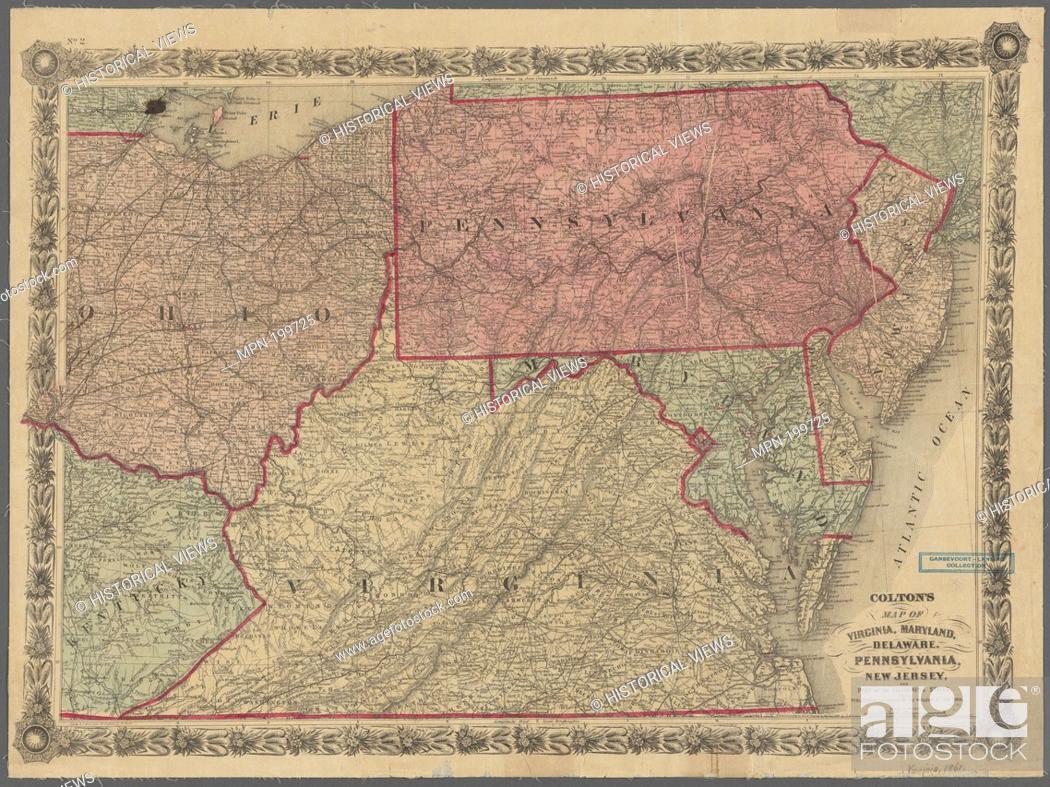 Colton S Map Of Virginia Maryland Delaware Pennsylvania Stock