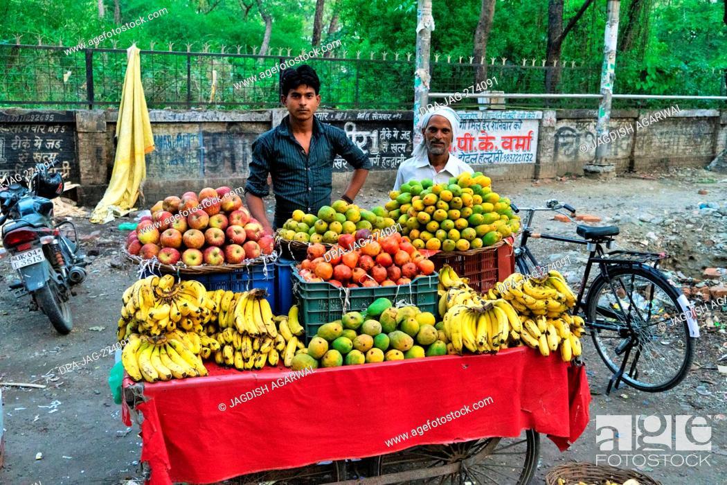 Stock Photo: Fruit vendor, Haldwani, Nainital, Kumaon, Uttarakhand, India, Asia.