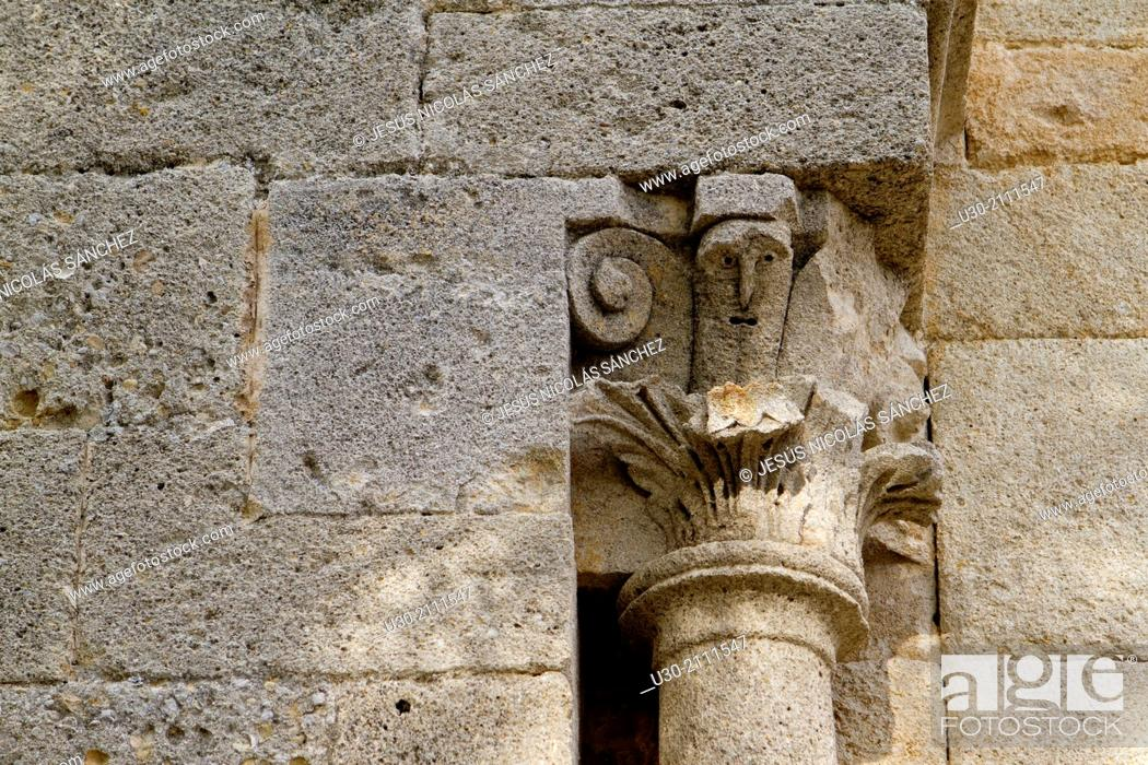 Stock Photo: Detail of the main door of benedictine abbey of the Notre-Dame, Ganagobie, Forcalquier district, in Alpes-de-Haute-Provence department.