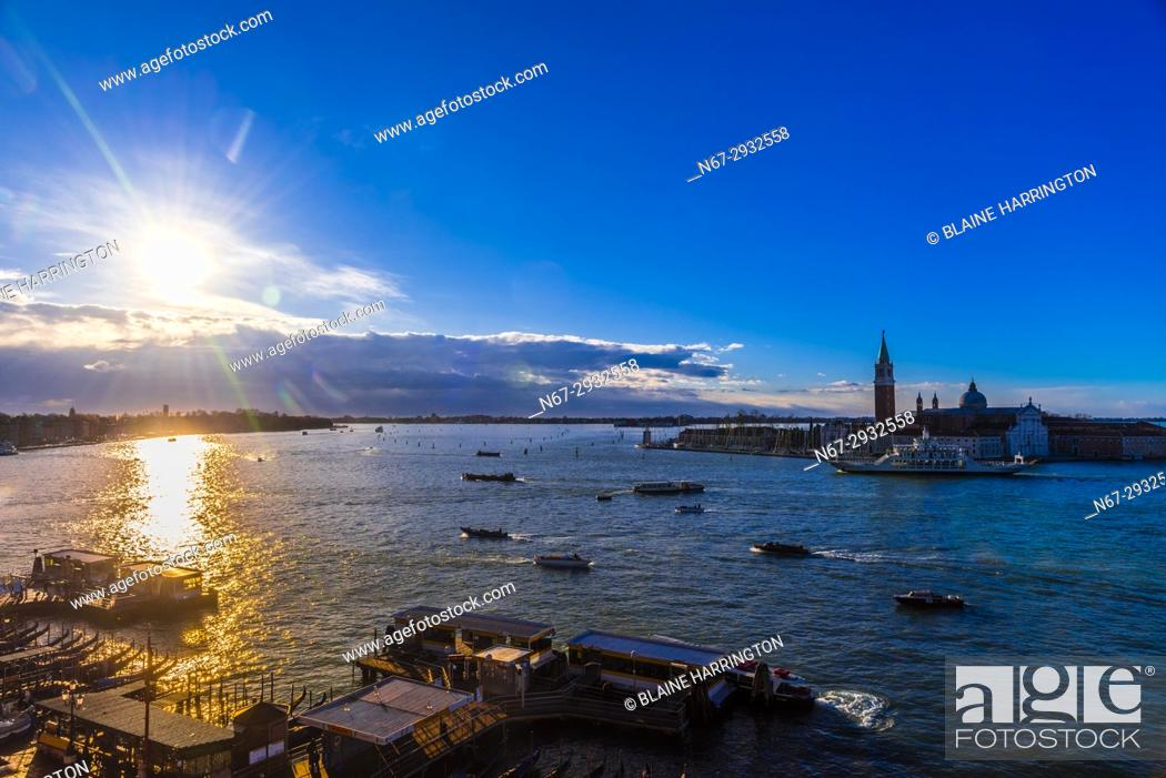 Stock Photo: Looking across the Venice Lagoon to Church of San Giorgio Maggiore, Venice, Italy.