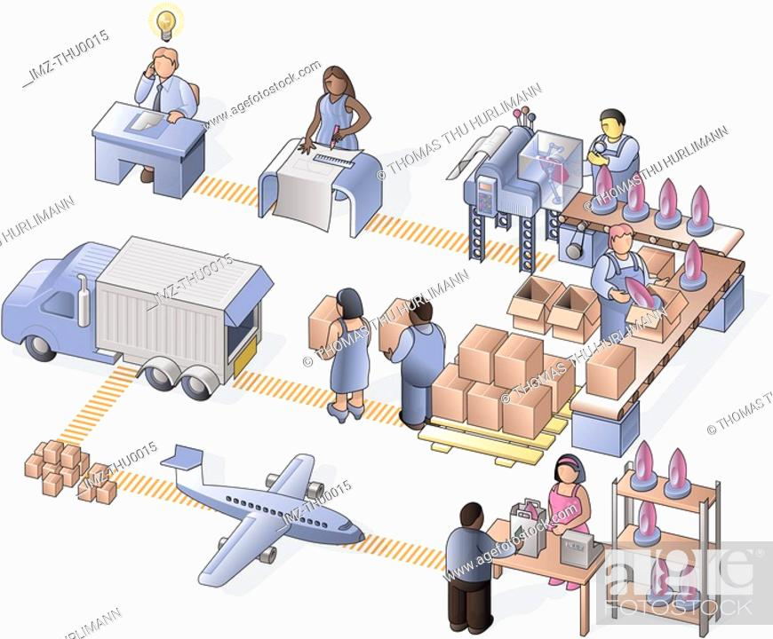 Stock Photo: A detail picture showing the precesses in a manufacturing company.