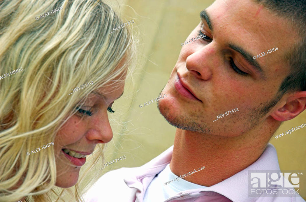 Stock Photo: Attractive young couple flirting.