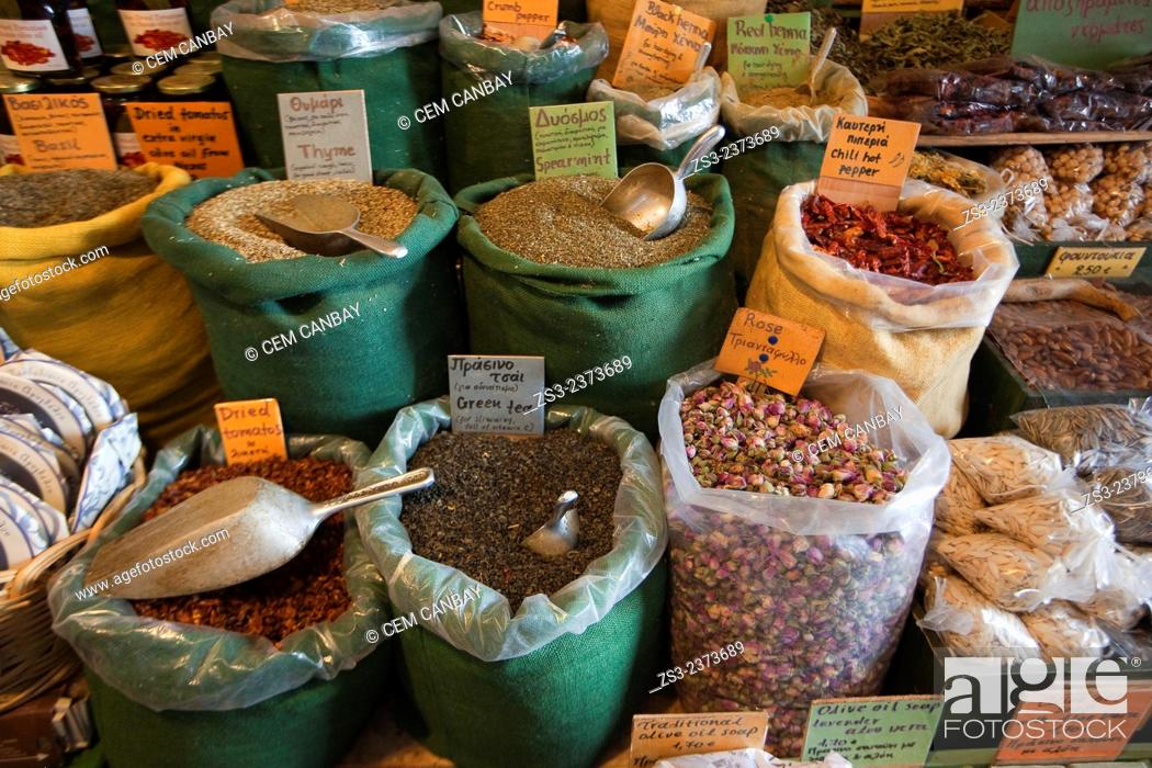 Stock Photo: Different legumes in sacks at the market, Naxos, Cyclades Islands, Greek Islands, Greece, Europe.