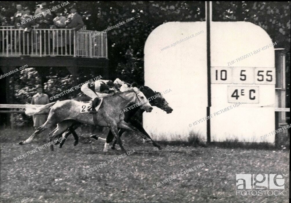 Stock Photo: May 11, 1955 - 6 horses participated in the race.Judges looked at the photo to try to decide who won and ended up declaring all three winners (Iceberg.