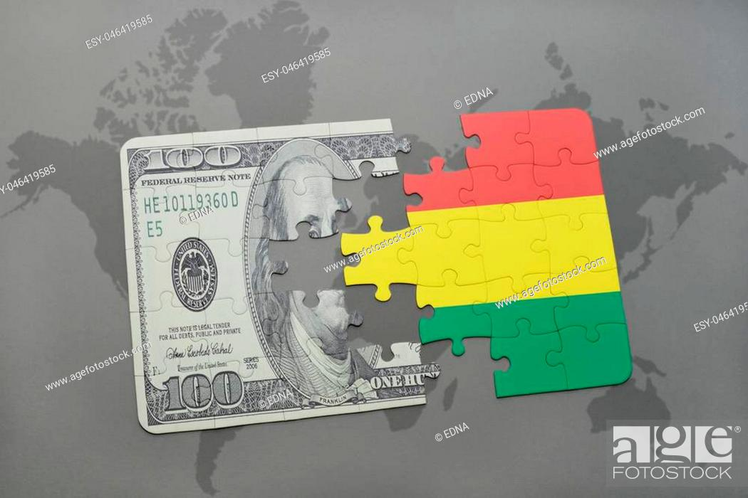 Imagen: puzzle with the national flag of bolivia and dollar banknote on a world map background. 3D illustration.